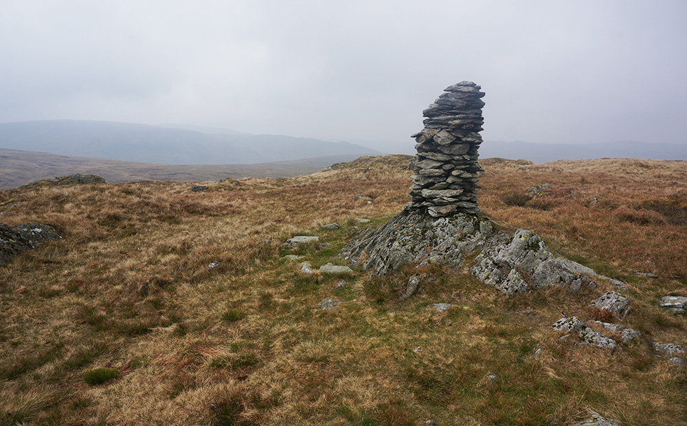 Stone cairn at Harrop Pike