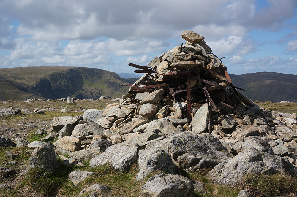 The unusual summit cairn at Harter Fell