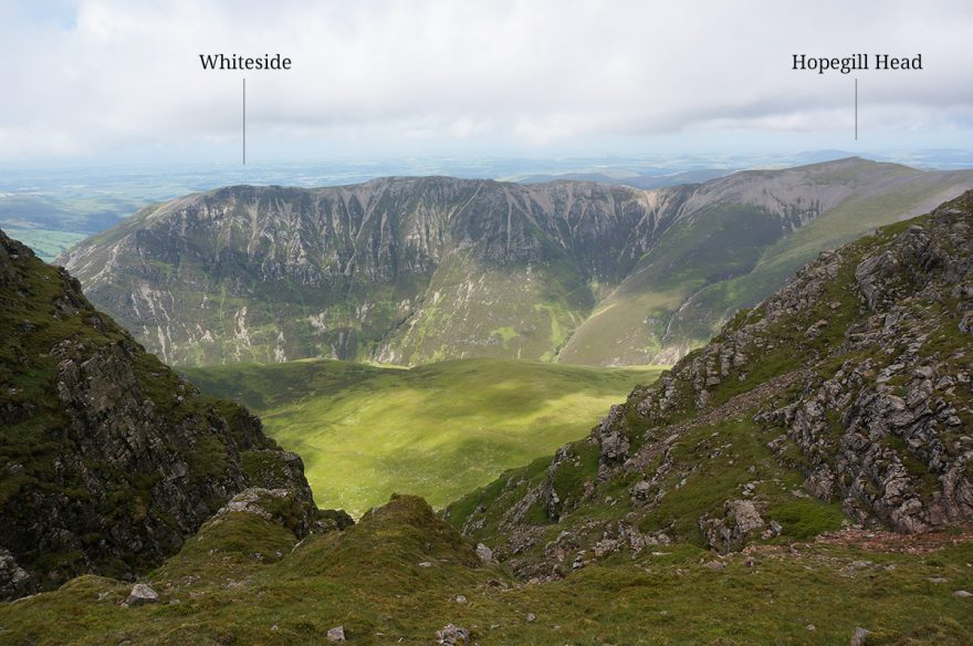 A view of the ridge walk from Whiteside to Hopegill Head from Grasmoor