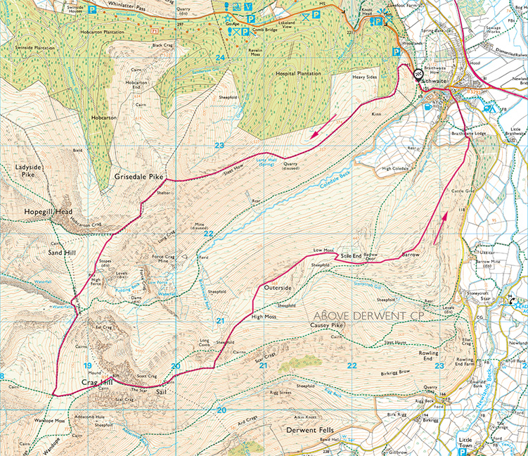 The Coledale Horseshoe map