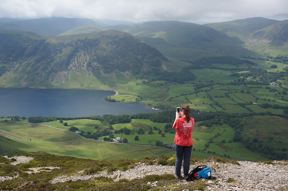 Tilly photographing Crummock Water
