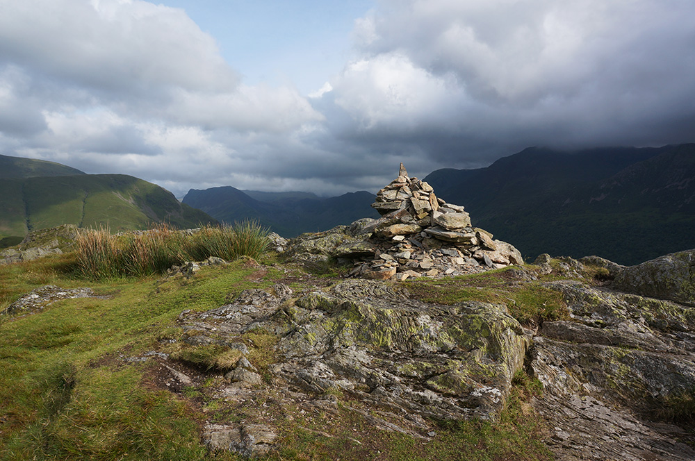 The summit cairn at Rannerdale Knotts