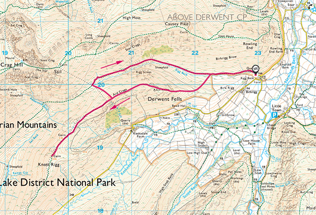 Map of the Ard Craggs and Knott Rigg walk