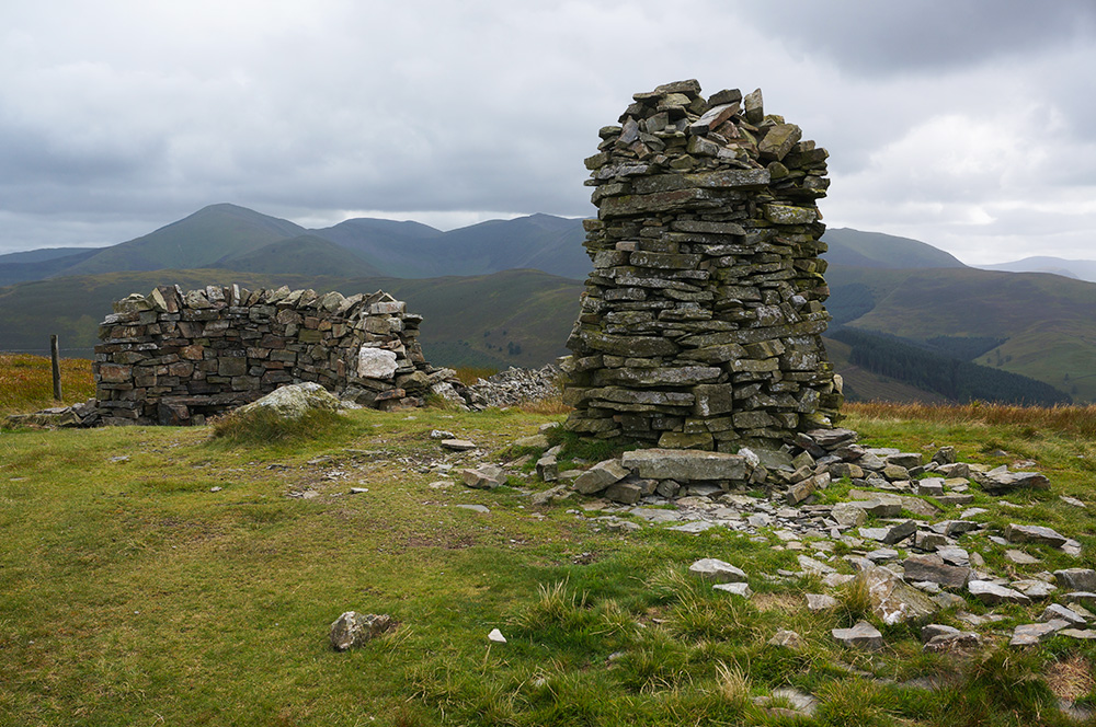 The Broom Fell summit cairn and shelter cairn