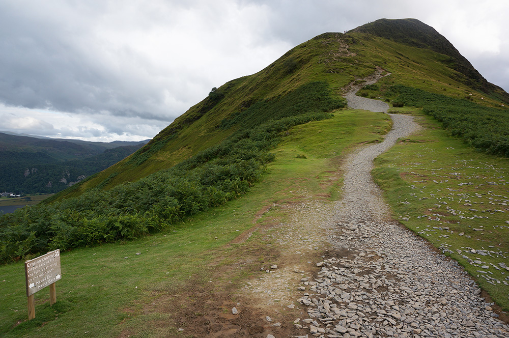 The badly eroded path up to the very popular Catbells summit