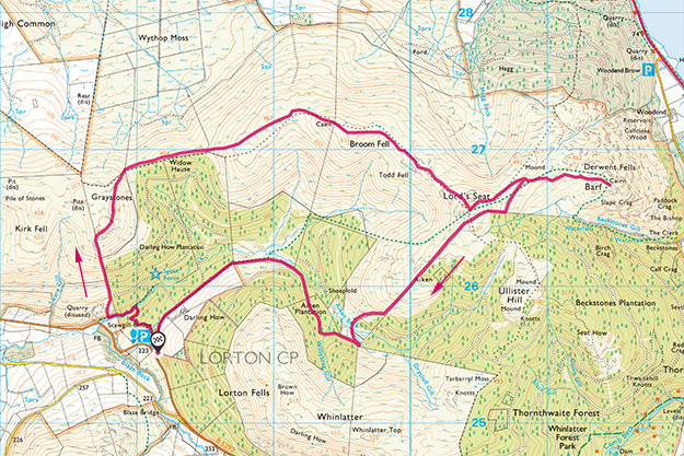 Map of the Lorton Fells walk