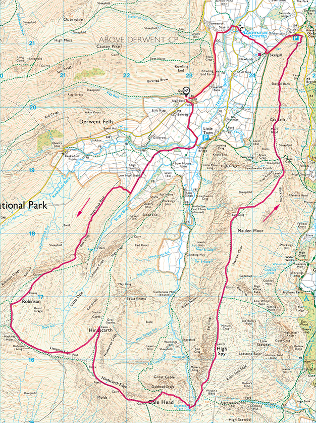 Map of the Newlands Round walk