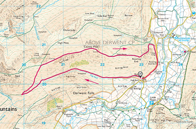 Map of Scar Crags and Causey Pike walk