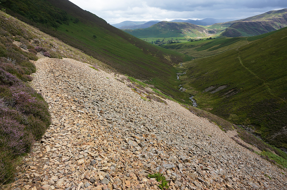 The Rigg Beck path as it crosses a scree slope.