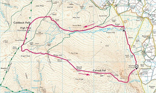 Map of the High Pike and Carrock Fell walk