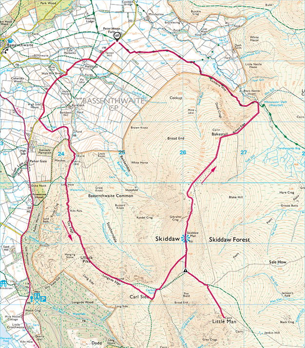 Map of the Skiddaw Group walk