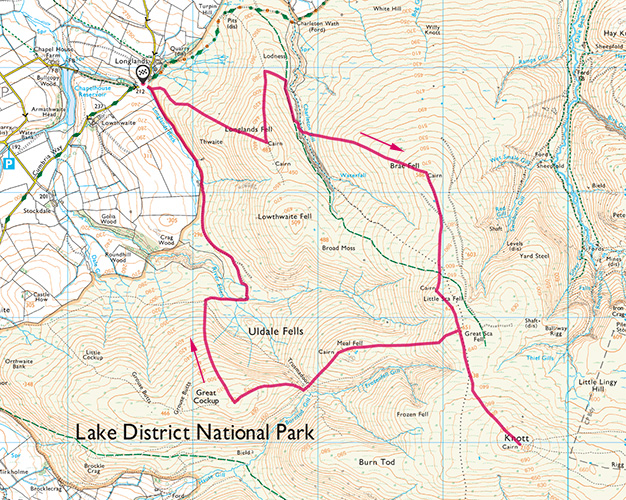 Map of the Uldale Fells walk
