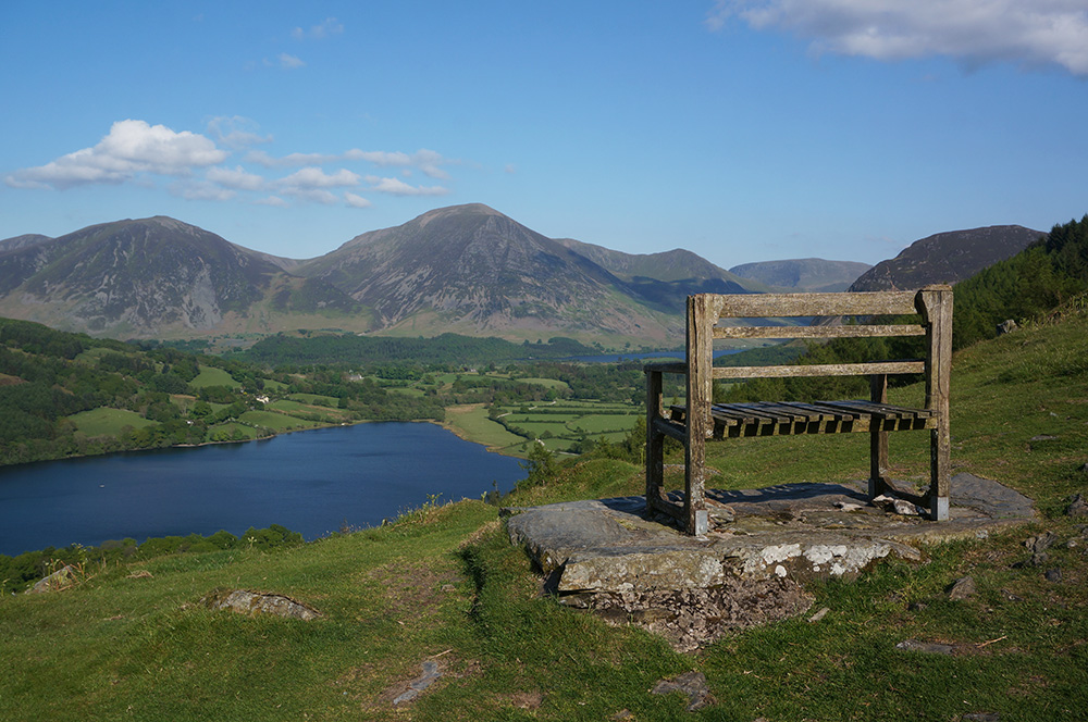 Seat with view of Grasmoor.