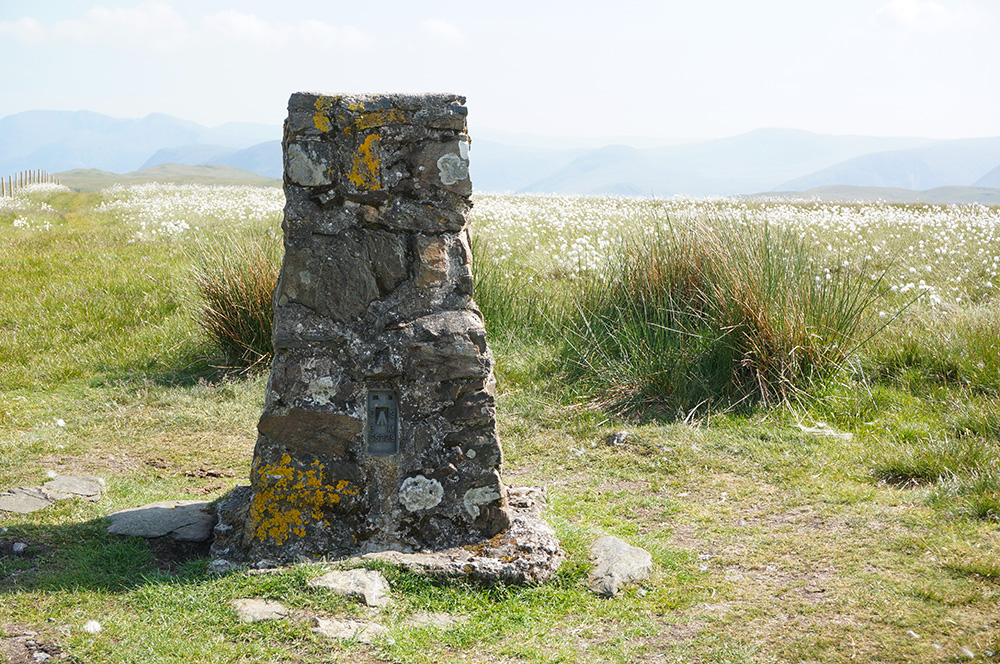 The trig pillar at Fellbarrow summit