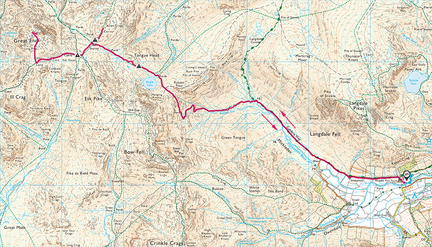 Great End and Allen Crags map