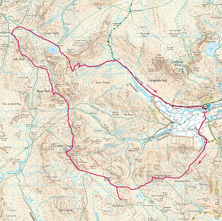 Head of Langdale map