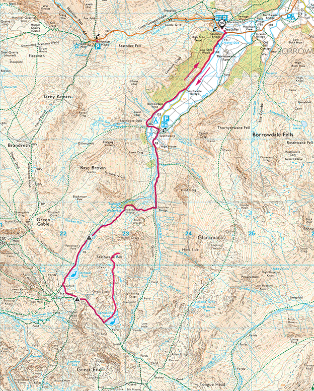 Seathwaite Fell map