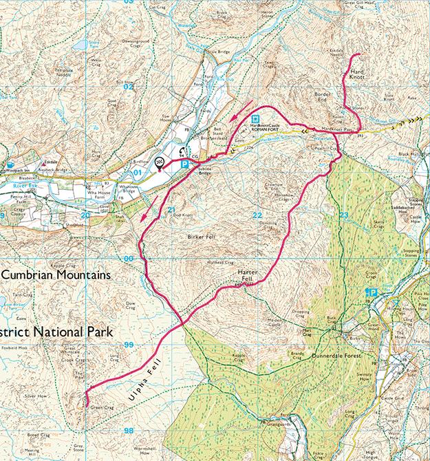 Map of Eskdale Trio walk