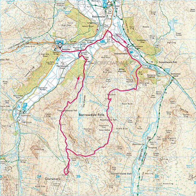 Map of Rosthwaite Fell and Glaramara Walk