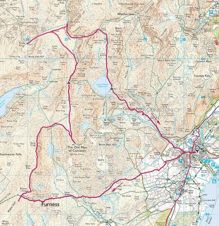 Map of The Coniston Fells walk