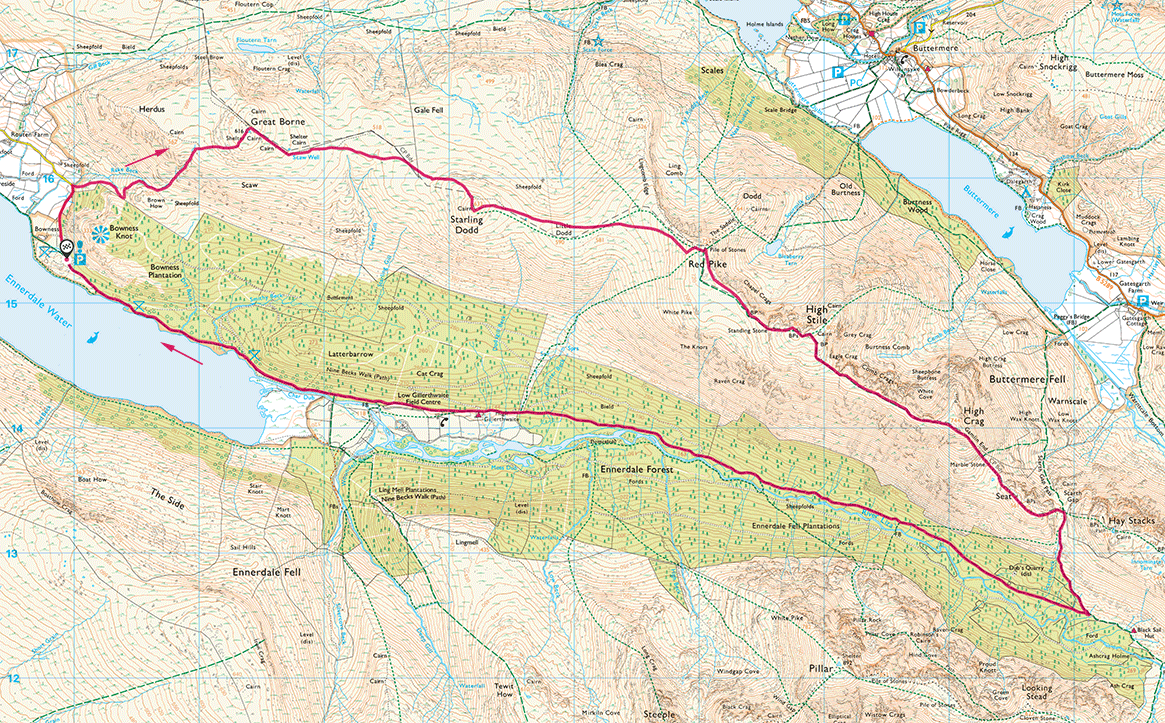 Map of High Stile Ridge walk