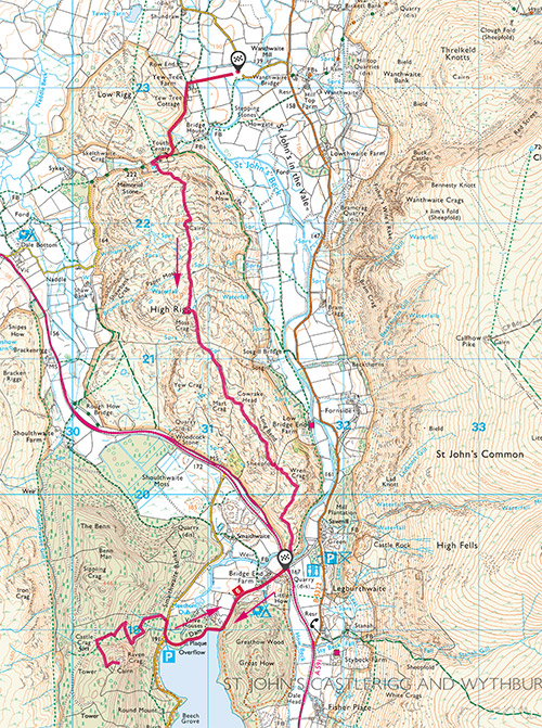 High Rigg and Raven Crag route