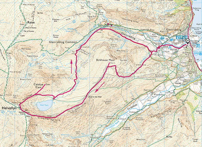 Helvellyn via the Edges walk map