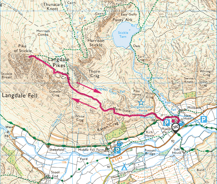 Pike o'Stickle walk map