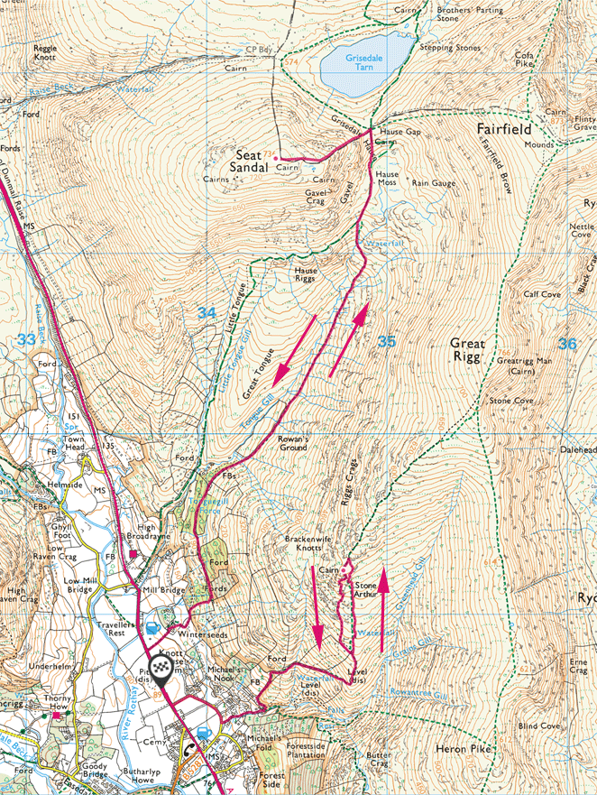 Stone Arthur and Seat Sandal walk map