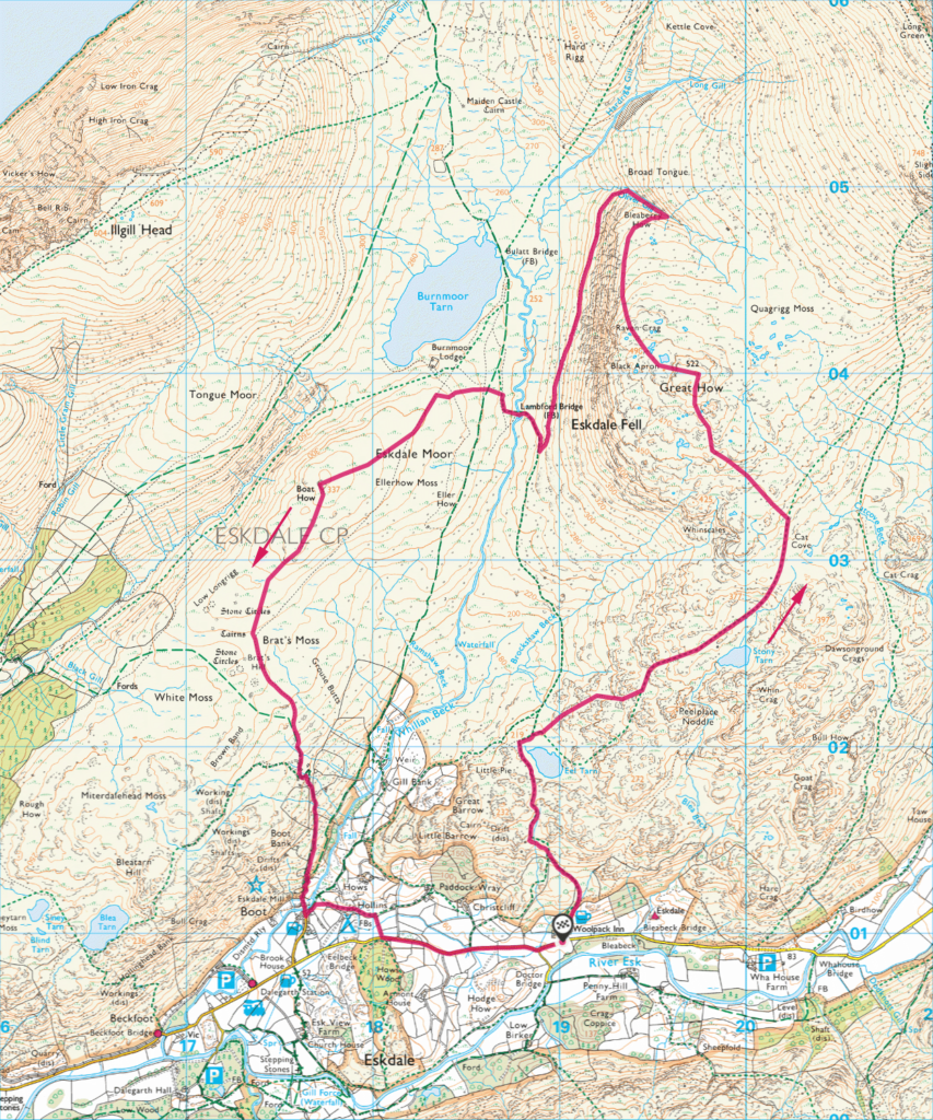 Map of Great How and Eskdale Moor