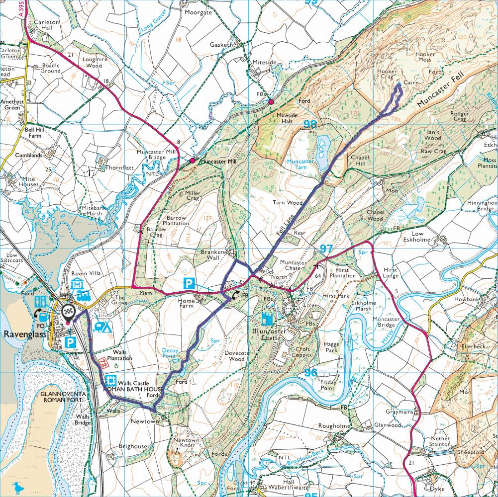 Ravenglass and Muncaster Fell map