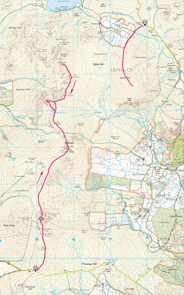 Map of the Ulpha Fells