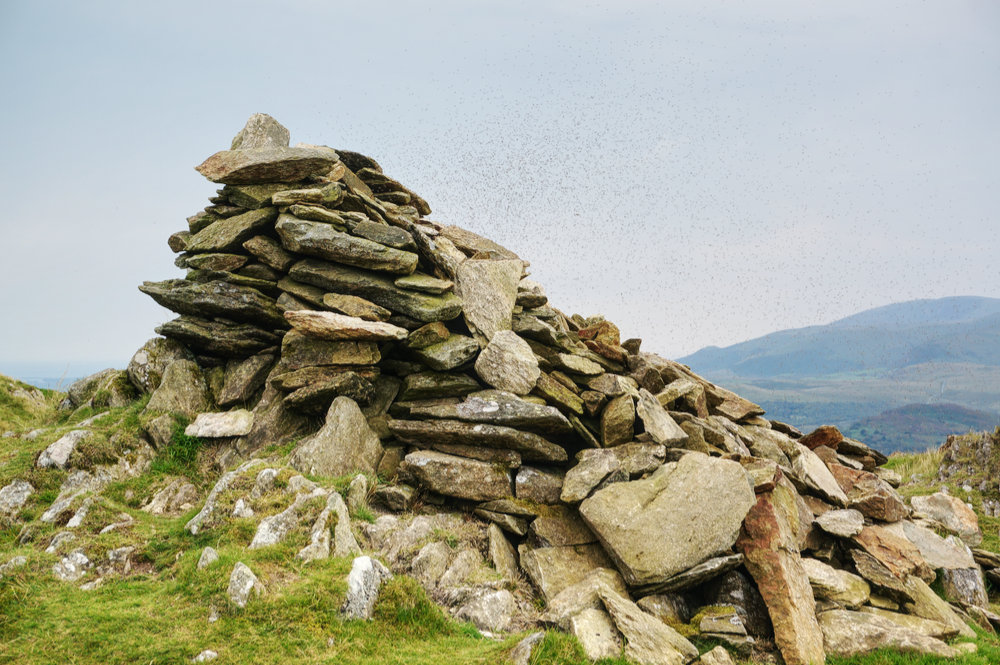 Stickle Pike summit cairn with midge swarm