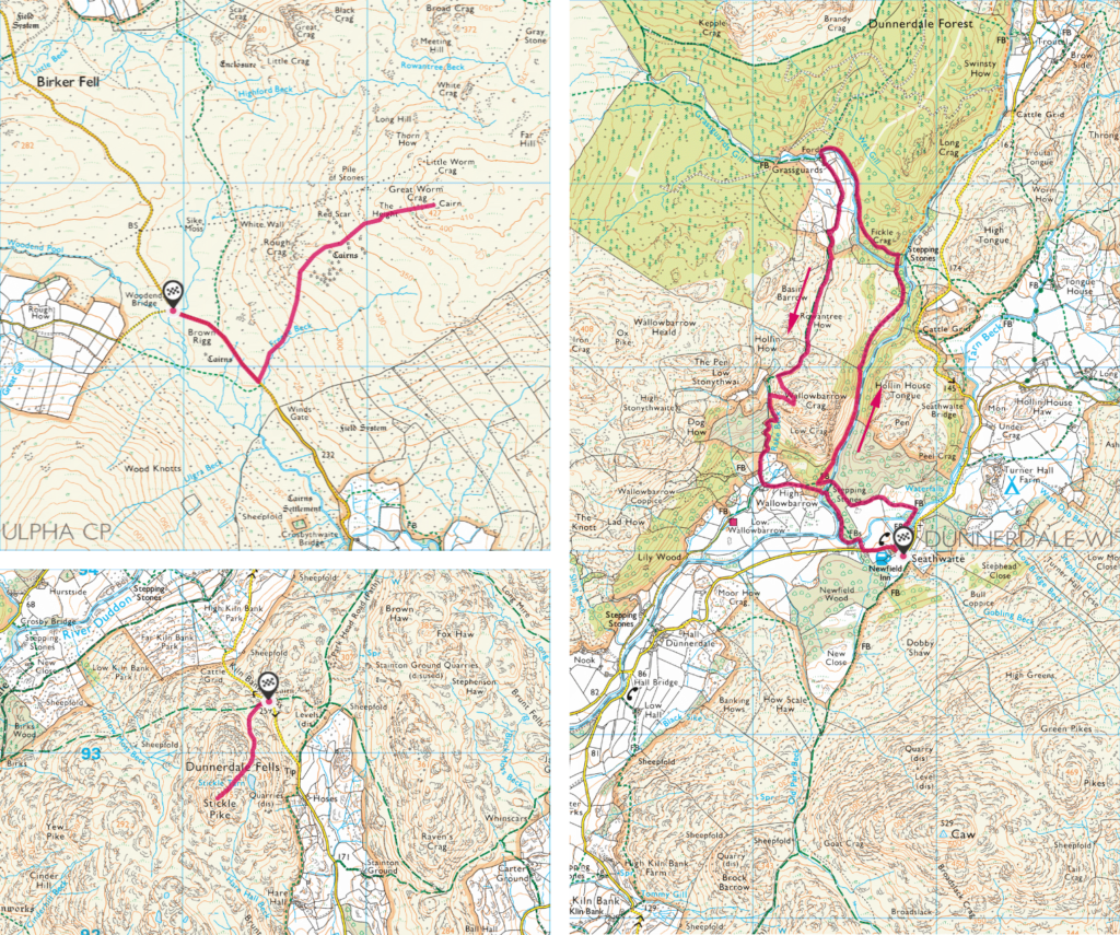 Maps of Great Worm Crag, Wallowbarrow Crag and Stickle Pike