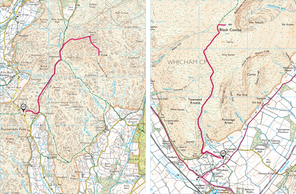 Maps of Caw and Black Combe