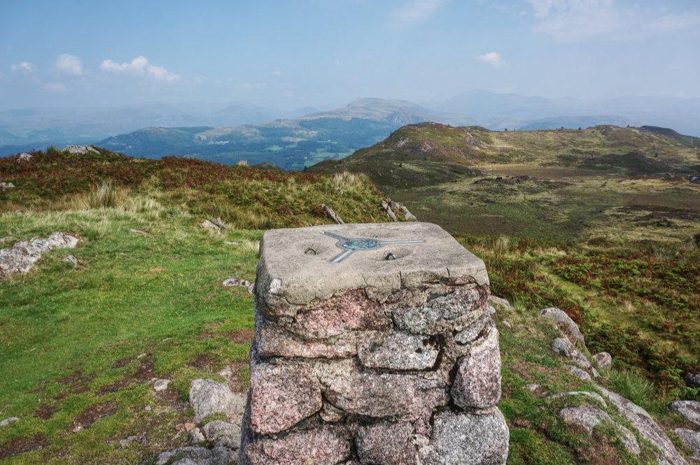 The OS trig pillar at Hooker Crag